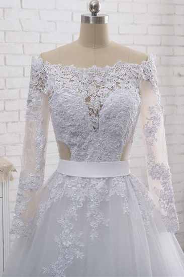 Stylish Off-the-Shoulder Long Sleeves Wedding Dress Tulle Lace Appliques Bridal Gowns with Beadings On Sale_6