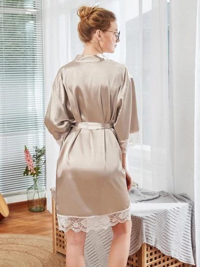 BMbridal Lovely Lady V-Neck Imitation Silk Lace Pajamas with Sleeves_2