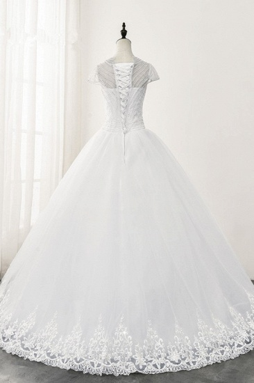 Chic Ball Gown Jewel White Tulle Lace Wedding Dress Short Sleeves Rhinestones Bridal Gowns Online_3
