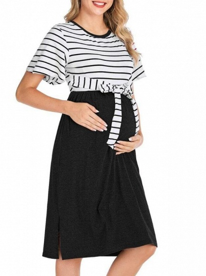 Fashion Women's Striped Round-Neck Maternity Dress with Short-sleeves_4