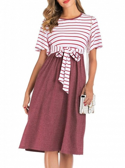 Fashion Women's Striped Round-Neck Maternity Dress with Short-sleeves_8
