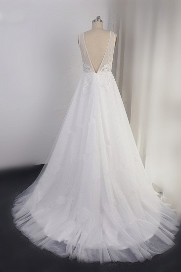 Elegant V-neck Tulle White Wedding Dress A-Line Lace Appliques Sleeveless Bridal Gowns On Sale_3