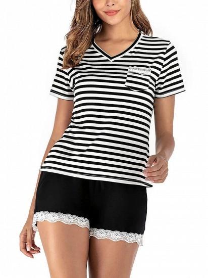 Two Pieces V Neck Lace Nightwear Modern Stripes Pajamas_1