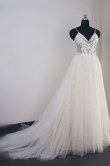 BMbridal Affordable Spaghetti Straps Tulle Ruffle Wedding Dress V-Neck Lace Appliques Bridal Gowns On Sale_4
