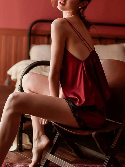 BMbridal Sexy Two Pieces Burgundy Hollow Nightwear Pajamas with Spaghetti Straps_3