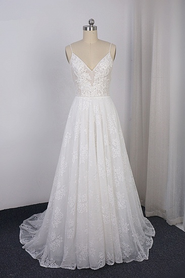 Sexy Spaghetti Straps V-neck Lace Tulle Wedding Dress Sleeveless Appliques Backless Bridal Gowns Online