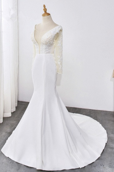 BMbridal Simple Satin Mermaid Jewel Wedding Dress Tulle Lace Long Sleeves Bridal Gowns On Sale_4