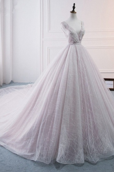 Affordable V-Neck Sleeveless Wedding Dress Lace Appliques Bedaings Long Bridal Gowns On Sale_4
