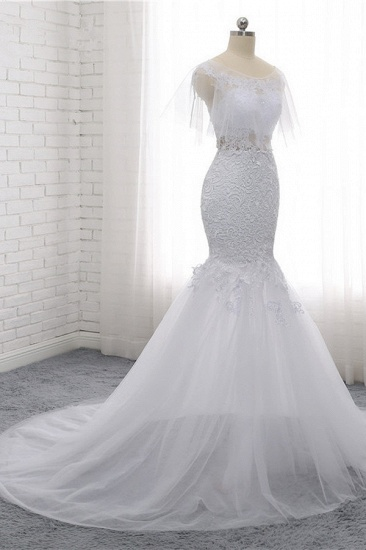Elegant Jewel Sleeveless White Tulle Wedding Dress Mermaid Lace Beading Bridal Gowns On Sale_4