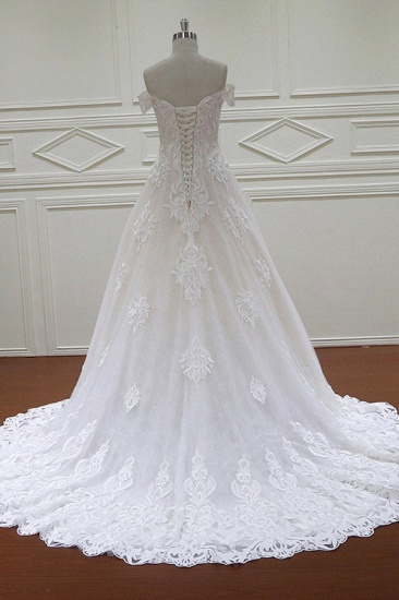 Elegant Off-the-Shoulder White Tulle Lace Wedding Dress Sweetheart Appliques Bridal Gowns On Sale_3