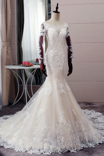 BMbridal Elegant Jewel Tulle Lace Mermaid Wedding Dress Long Sleeves Appliques Bridal Gowns with Beadings On Sale_4