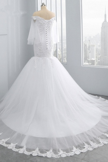 Gorgeous Off-the-Shoulder Sweetheart Tulle Wedding Dress White Mermaid Lace Appliques Bridal Gowns Online_5