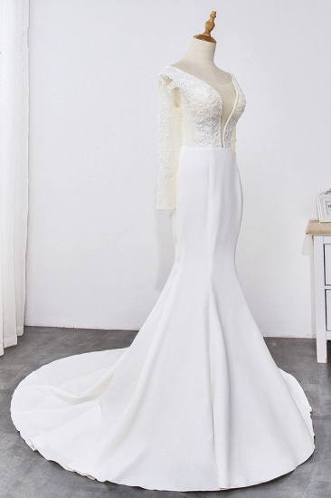 BMbridal Simple Satin Mermaid Jewel Wedding Dress Tulle Lace Long Sleeves Bridal Gowns On Sale_5