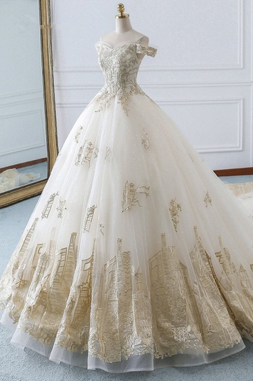 Chic Off-the-Shoulder White Tulle Wedding Dress Sweetheart Sleeveless Champagne Appliques Bridal Gowns Online_4