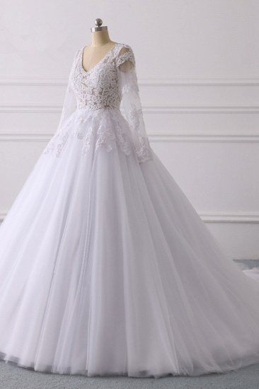 BMbridal Elegant V-Neck Long Sleeves Wedding Dress White Tulle Lace Appliques Bridal Gowns On Sale_4