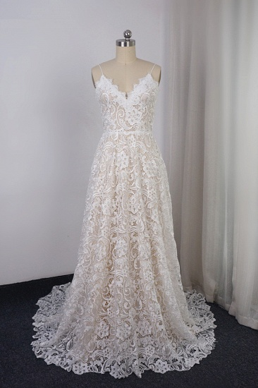 Chic Spaghetti Straps V-Neck Lace Wedding Dress A-Line Sleeveless Long Bridal Gowns On Sale