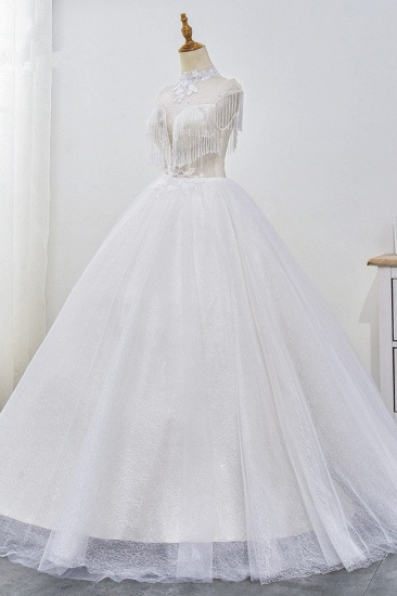 Luxury Ball Gown High-Neck Tulle Wedding Dress Sparkly Sequins Sleeveless Appliques Bridal Gowns with Tassels_4