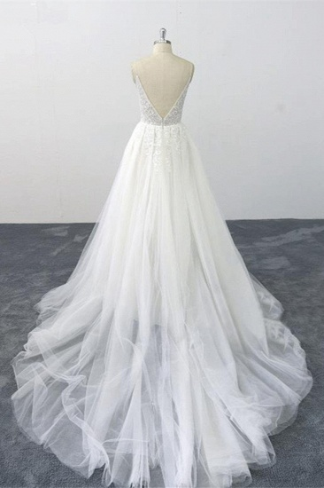 Sexy Spaghetti Straps Tulle Lace Wedding Dress V-Neck Ruffles Appliques Bridal Gowns Online_3