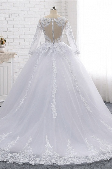 BMbridal Stylish Long Sleeves Tulle Lace Wedding Dress Ball Gown V-Neck Sequins Appliques Bridal Gowns On Sale_3