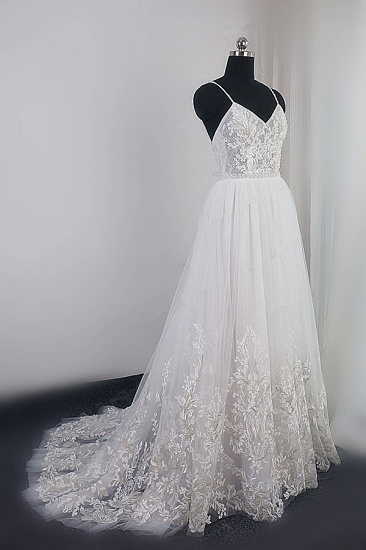 Elegant Spaghetti Straps Tulle Lace Wedding Dress V-Neck Appliques See Through Top Bridal Gowns_4