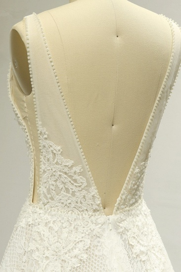 BMbridal Sexy Tulle Deep-V-Neck Lace Wedding Dress Sleeveless Appliques Pearls Bridal Gowns On Sale_6