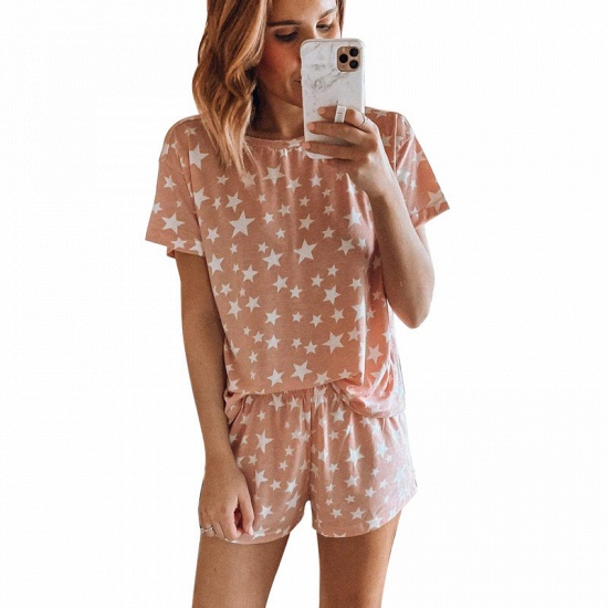 BMbridal Women's Tie-dye short-sleeved Pajamas Summer fashion Printed Two-piece Housewear_2