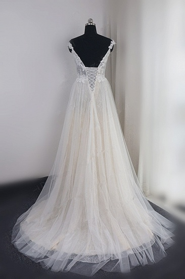 Chic Tulle Lace White V-neck Wedding Dress Appliques Sleeveless Ruffle Bridal Gowns On Sale_3