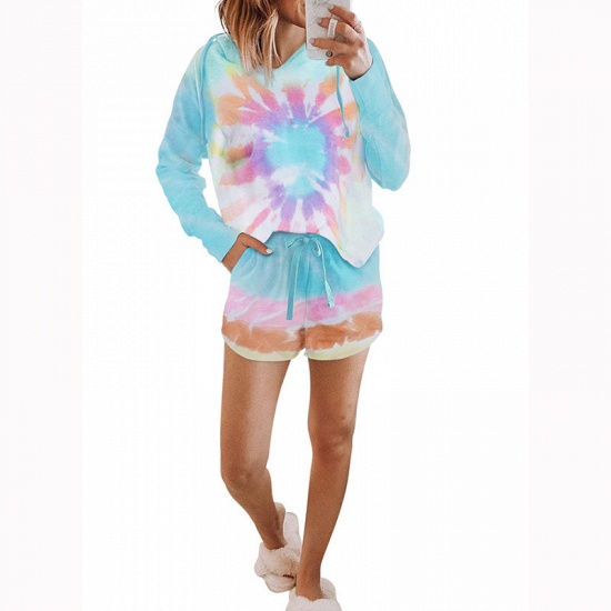 BMbridal Fashion Tie-dyed Pajamas Summer Long-sleeves Round Neck Homewear_1