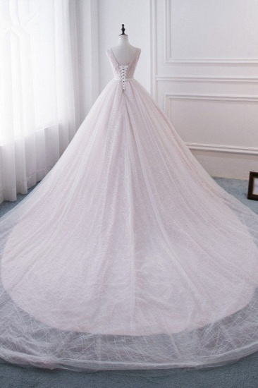 Affordable V-Neck Sleeveless Wedding Dress Lace Appliques Bedaings Long Bridal Gowns On Sale_3