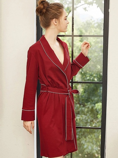 BMbridal Cotton Sexy V-Neck Long Sleeves Sleepwear Robe with Belt for Women_3