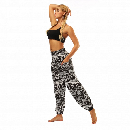 BMbridal Newest Flora Printed Designed Latern Pockets Women Yoga Pants Outdoor Indoor Gym Sports Exercises Women Lose Athletic Trousers_7