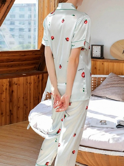 Chic Two-pieces Imitation Silk Printed Pajamas Sets On Sale_2