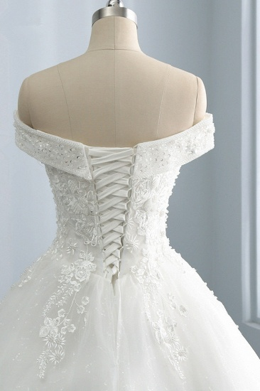BMbridal Gorgeous Off-the-Shoulder Tulle Appliques Wedding Dress Sweetheart Sleeveless Lace Bridal Gowns On Sale_5