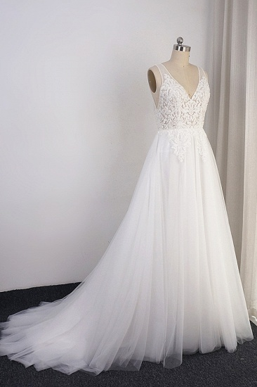Elegant V-neck Tulle White Wedding Dress A-Line Lace Appliques Sleeveless Bridal Gowns On Sale_1