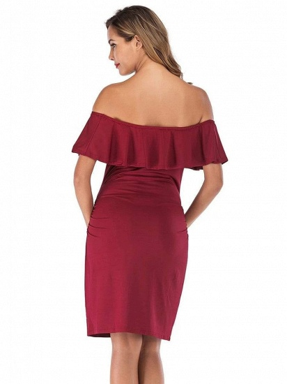 BMbridal Bodycon Off-the-Shoulder Maternity Breastfeeding Dress with Ruffles_2