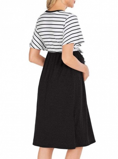Fashion Women's Striped Round-Neck Maternity Dress with Short-sleeves_10
