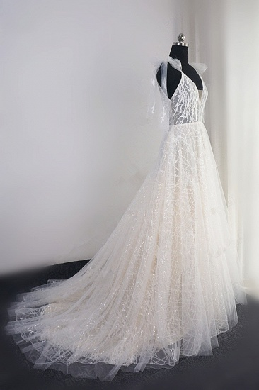 BMbridal Gorgeous Spaghetti Straps Tulle Wedding Dress Beading V-Neck Sleeveless Bridal Gowns Online_4