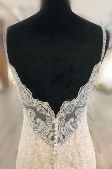 BMbridal Elegant Spaghetti Straps Mermaid Wedding Dress Tulle Lace Appliques V-Neck Bridal Gowns Online_5