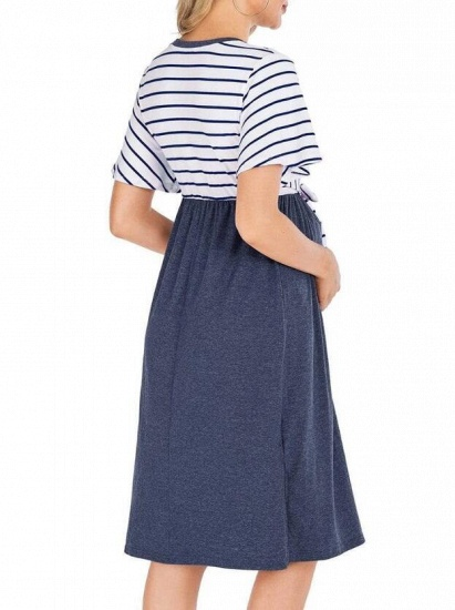 Fashion Women's Striped Round-Neck Maternity Dress with Short-sleeves_9