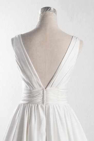 BMbridal Affordable V-neck Satin White Wedding Dress Sleeveless Ruffles Bridal Gowns On Sale_6