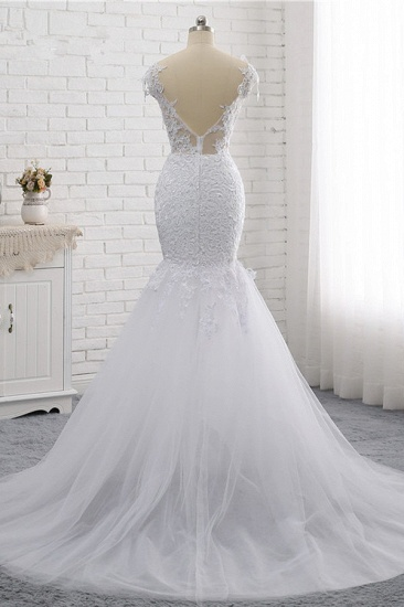 Elegant Jewel Sleeveless White Tulle Wedding Dress Mermaid Lace Beading Bridal Gowns On Sale_7