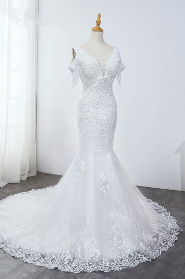 Sparkly Sequined V-Neck Cold-Shoulder White Wedding Dress White Mermaid Lace Appliques Bridal Gowns On Sale_4