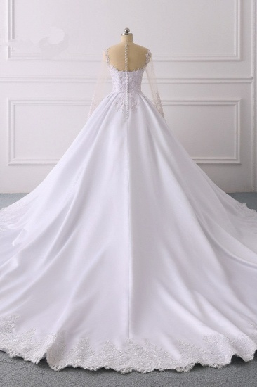 Glamorous Ball Gown Jewel Satin Tulle Wedding Dress Long Sleeves Ruffles Lace Bridal Gowns Online_3