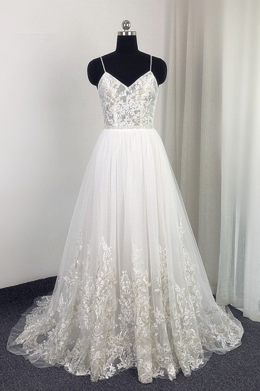 Elegant Spaghetti Straps Tulle Lace Wedding Dress V-Neck Appliques See Through Top Bridal Gowns