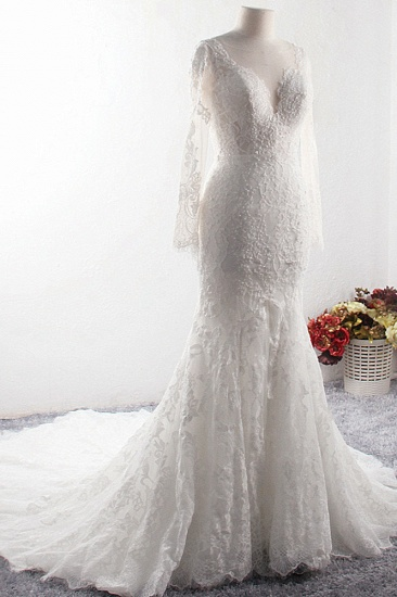 Elegant V-neck Tulle Lace Wedding Dress Long Sleeves Mermaid Appliques Bridal Gowns with Beadings Online_4