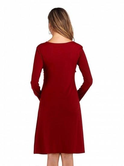 BMbridal Burgundy V-Neck Long Sleeves Short Maternity Dresses with Ruffles_2