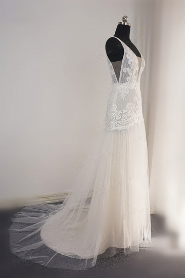 Sexy Straps Deep-V-Neck Tulle Appliques Wedding Dress Sleeveless Ruffles Lace Bridal Gowns Online_4