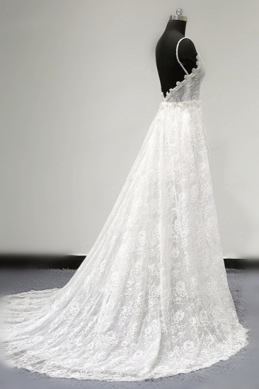 BMbridal Sexy V-neck Tulle Lace Wedding Dress Spaghetti Straps V-Neck Appliques Bridal Gowns Online_4