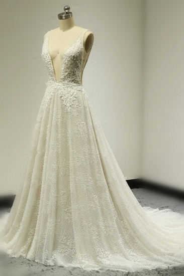 BMbridal Sexy Tulle Deep-V-Neck Lace Wedding Dress Sleeveless Appliques Pearls Bridal Gowns On Sale_4