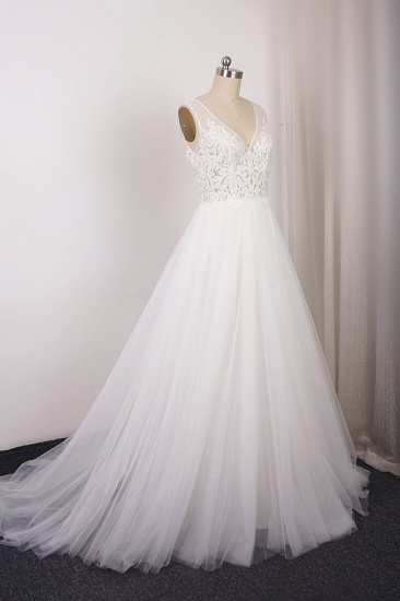 Elegant V-Neck Sleeveless Straps Lace Wedding Dress White Tulle Appliques Beadings Bridal Gowns On Sale